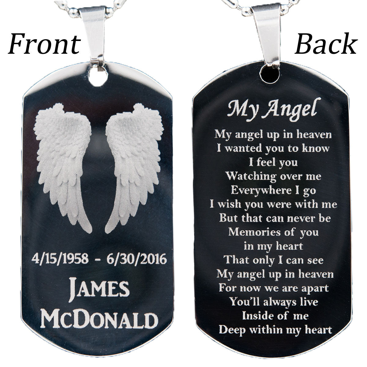3fc827e0ff Customized Stainless Steel My Angel Dog Tag Necklace or Key Chain with FREE  Engraving