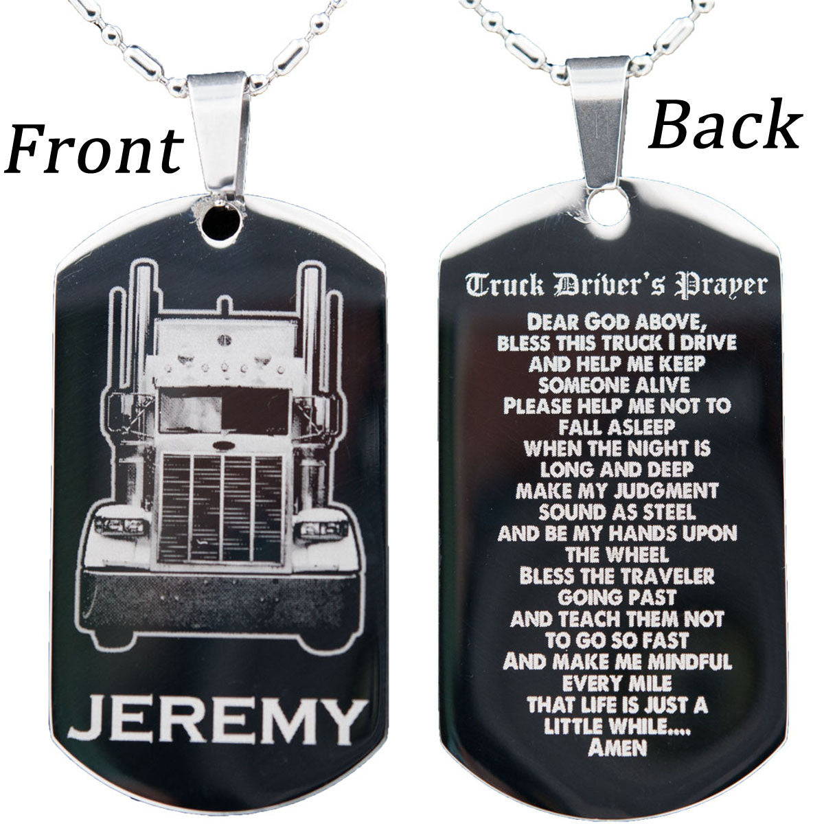 b1ae6b816e ... Stainless Steel Trucker's Dog Tag Necklace or Key Chain with FREE  Engraving ...