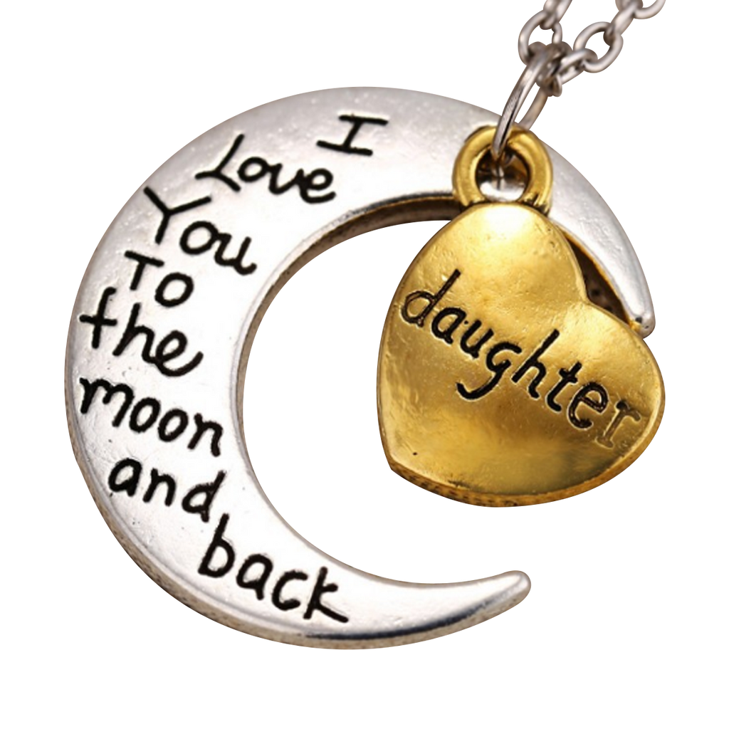 i love you to the moon and back pendant necklace my sparkles store. Black Bedroom Furniture Sets. Home Design Ideas