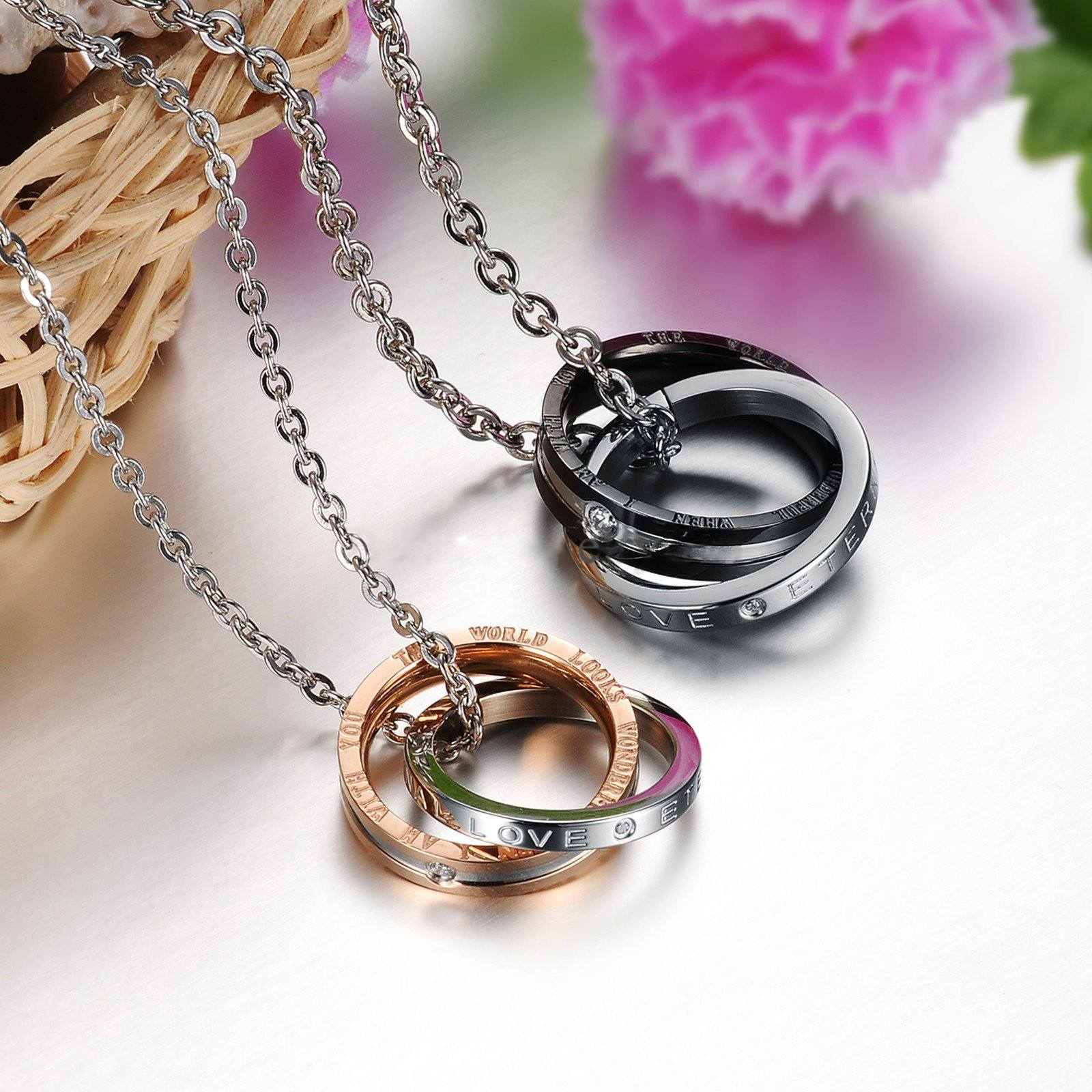 9fb42550dc ... Necklace - His And Hers: A Promise Of Eternal Love Stainless Steel  Couple's Necklace Set ...