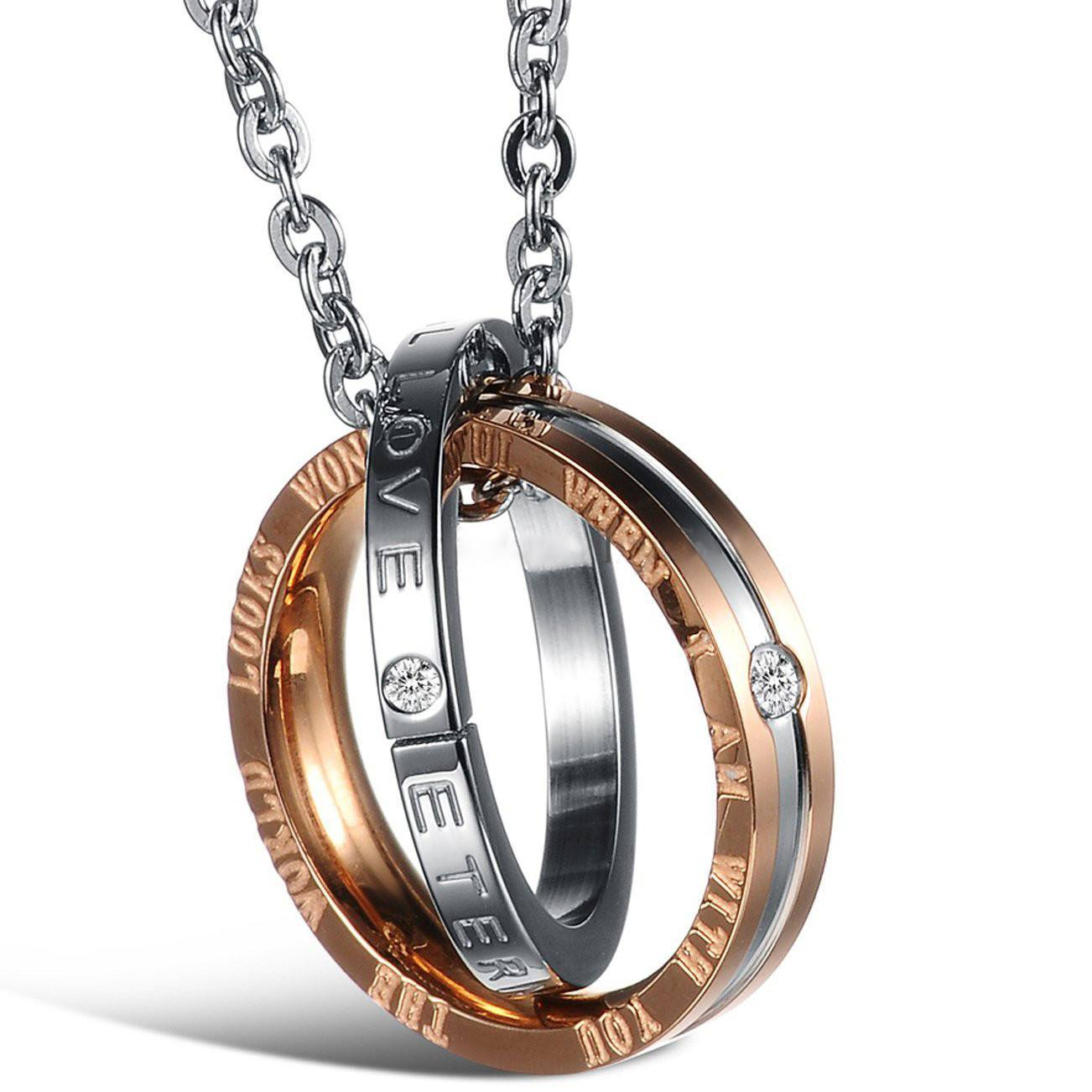 His and Hers: Stainless Steel Couple's Necklace Set (2 Necklaces ...