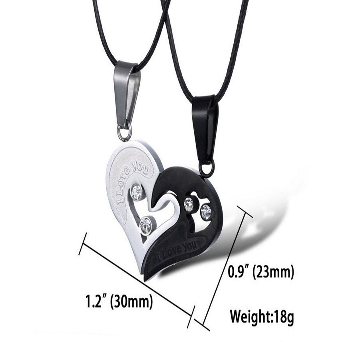 His and Hers: Stainless Steel Love Heart Couple Necklace Set (2 ...
