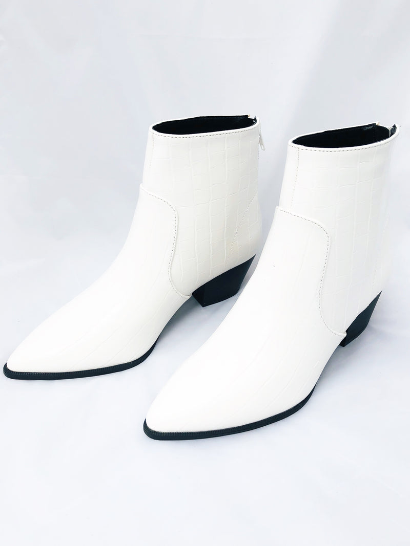 Faux Croc White Booties - White
