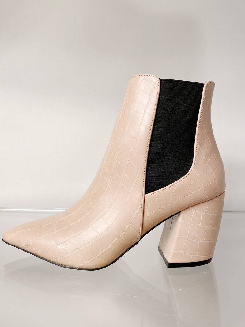 Faux Croc Booties - Nude
