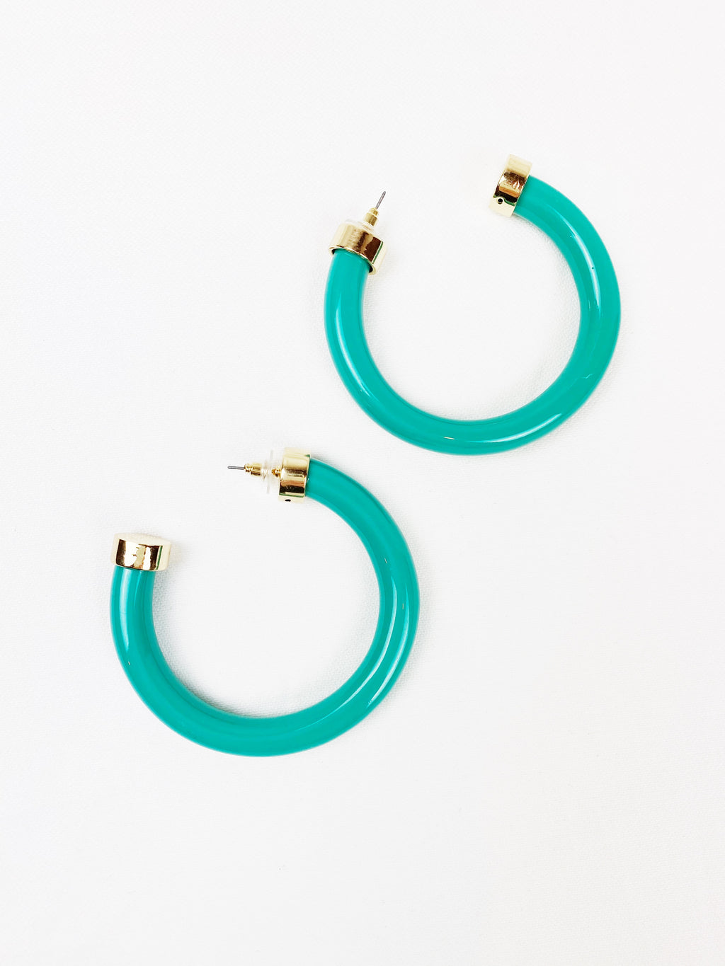 Thick Turquoise Hoops