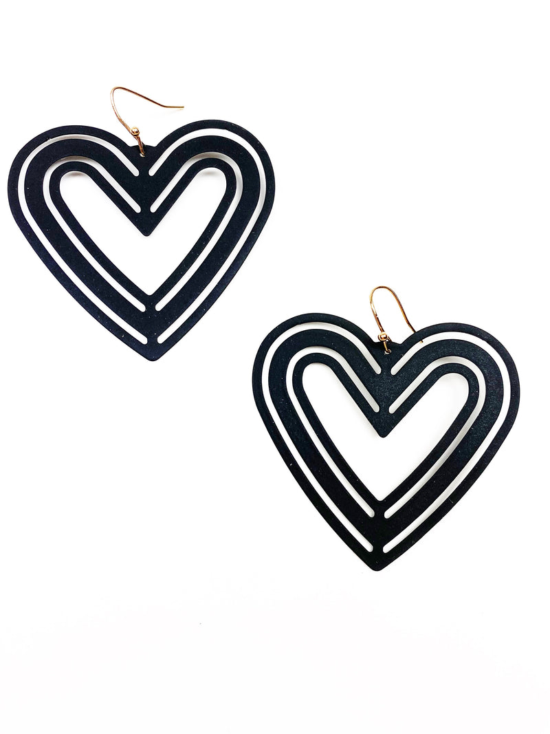 Wild Hearts Earrings - Black