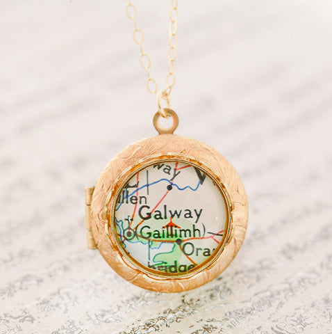 Golden • Map Locket