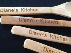 Personalized 5 Piece Bamboo Cooking Utensils
