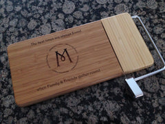 Monogramed Classic Bamboo Cheese Board & Slicer