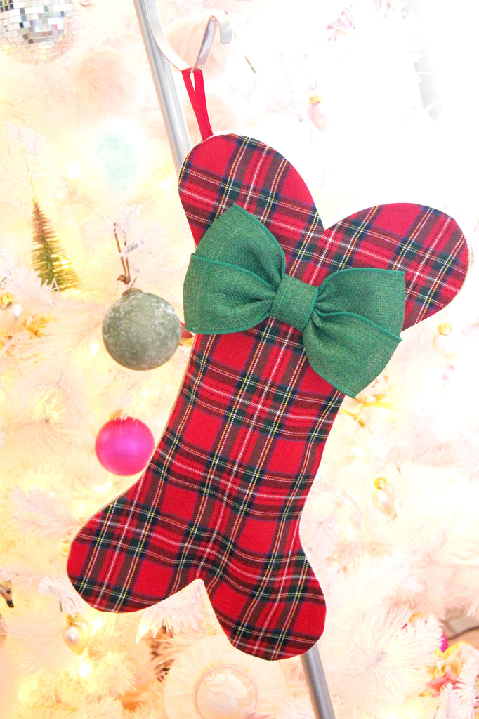 Plaid Christmas Stockings for Dogs - happy claude