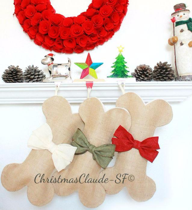 Burlap Christmas Stockings for Dogs - happy claude