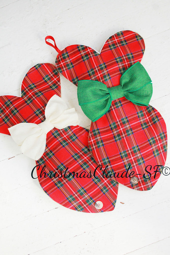 Plaid Tartan Christmas Stocking For Cats