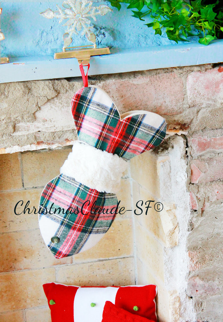 Wool Plaid Christmas Stocking for Cats - happy claude
