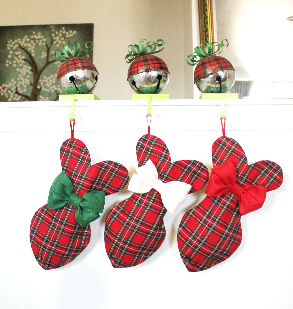 Plaid Tartan Christmas Stocking For Cats - happy claude