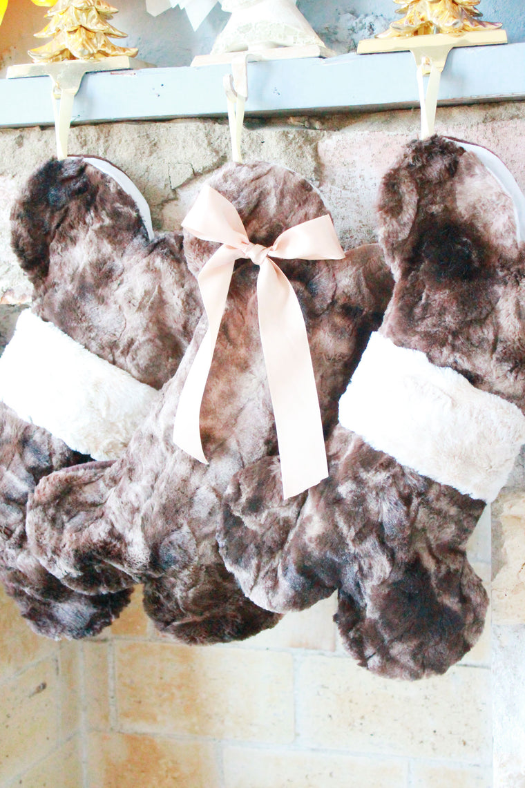 Brown Fur Christmas Stockings for Dogs - happy claude