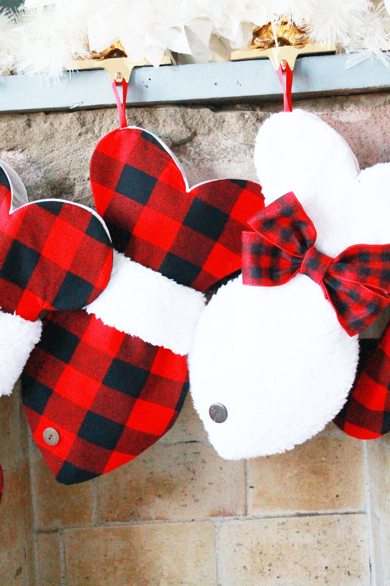 Buffalo Plaid Christmas Stocking For Cats - happy claude