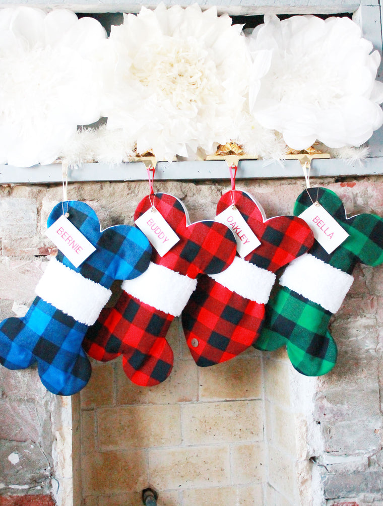 Plaid Christmas Stockings for Dogs and Cats - happy claude