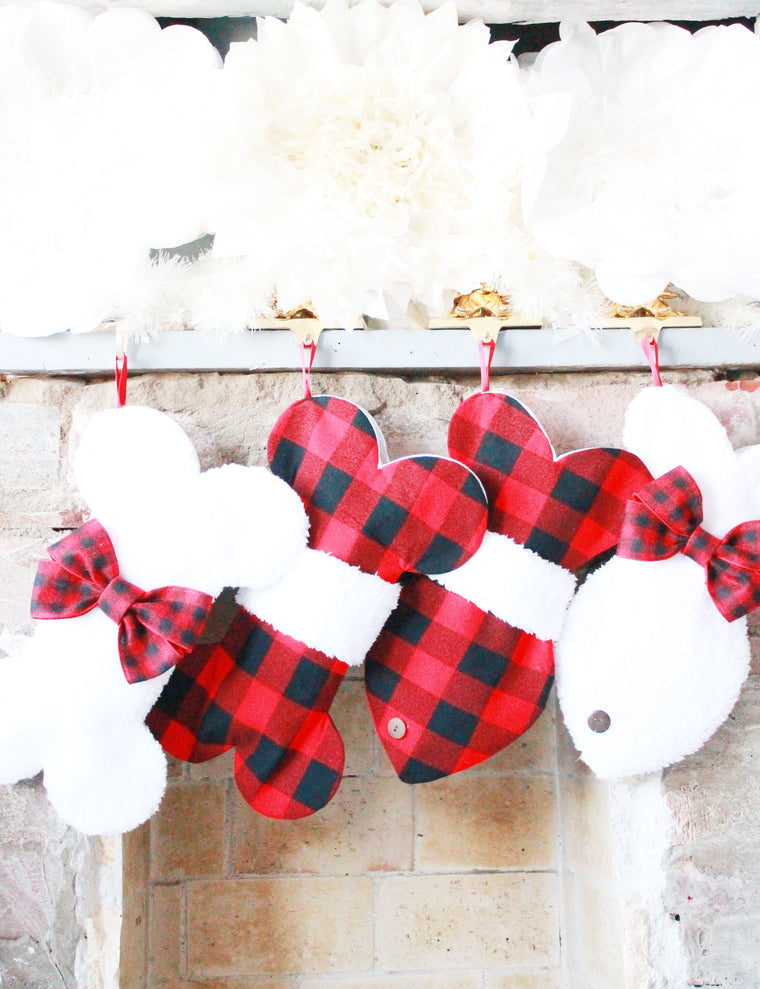 Plaid Buffalo Christmas Stockings for Dogs and Cats - happy claude