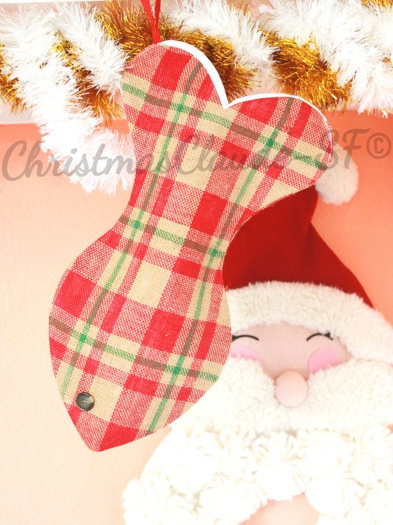 Burlap Plaid Christmas Stocking for Cats - happy claude