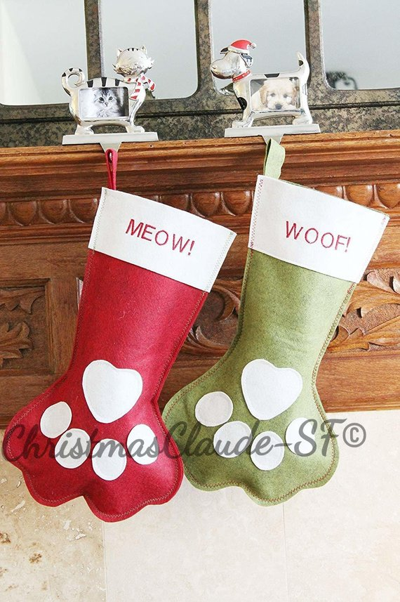 Paw Pet Christmas Stockings - happy claude