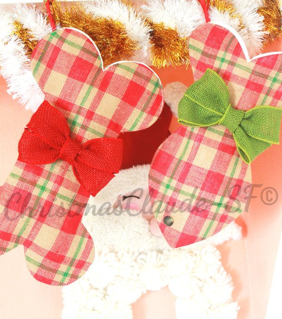 Burlap Plaid Christmas Stockings for Dogs