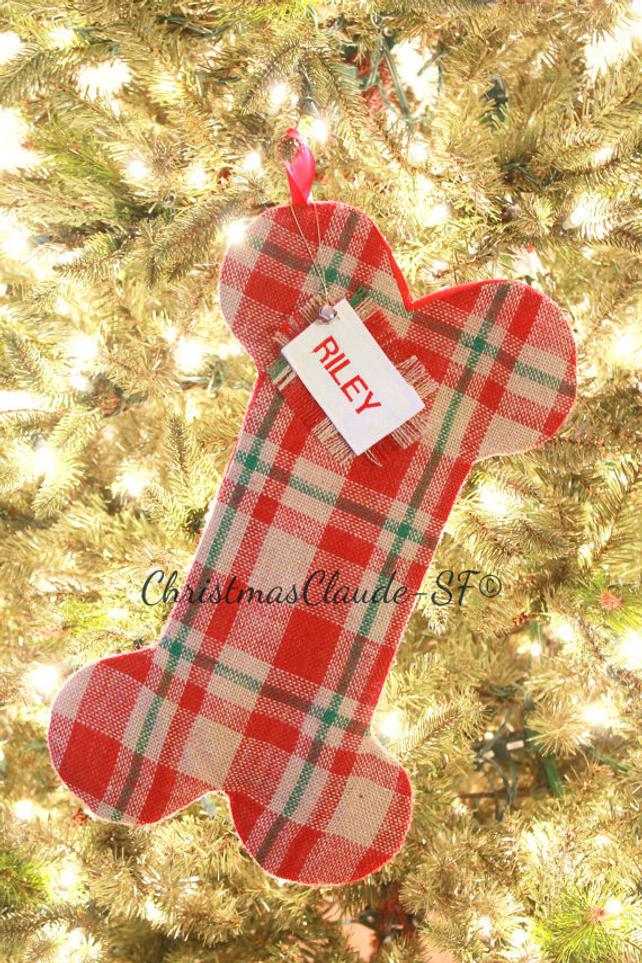 Plaid Christmas Stocking - happy claude