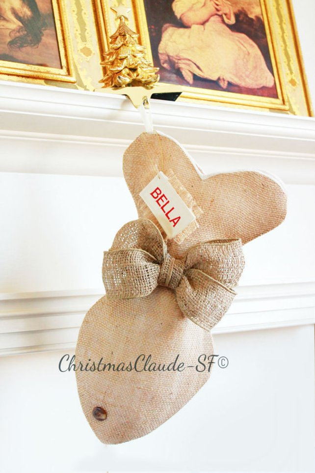 Burlap Christmas Stockings for Cats - happy claude