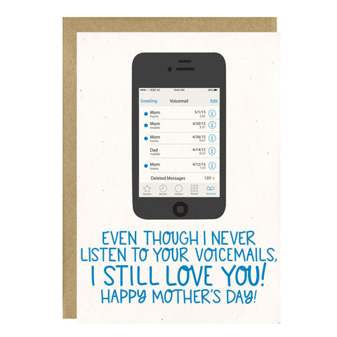 Voicemail Funny Mother's Day Card by Little Lovelies Studio
