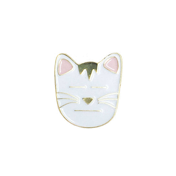 Resting Cat Face Enamel Pin