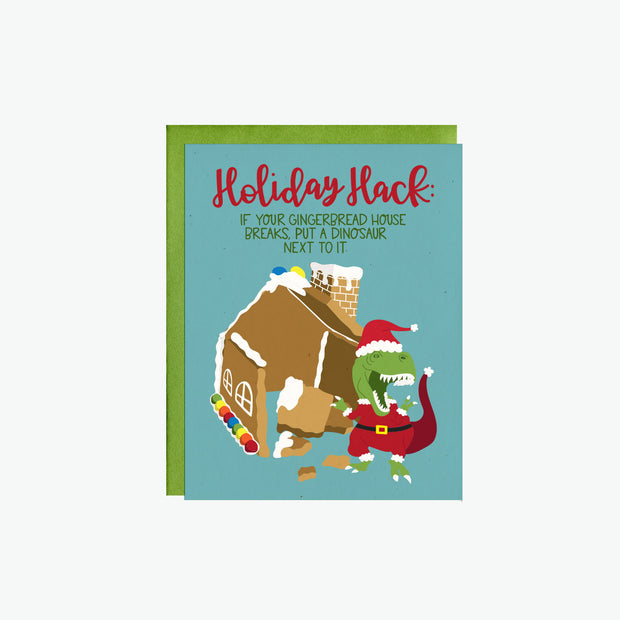Gingerbread House & T-Rex Card