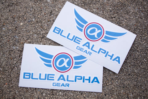 Blue Alpha Gear Vinyl Decals (2 Pack)