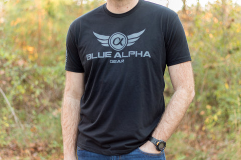 Blue Alpha Gear T-Shirt (Gray Logo)