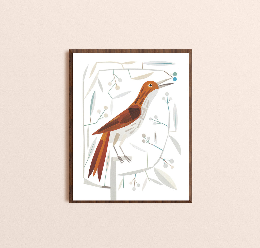 Zebuu Brown Bird Art Print