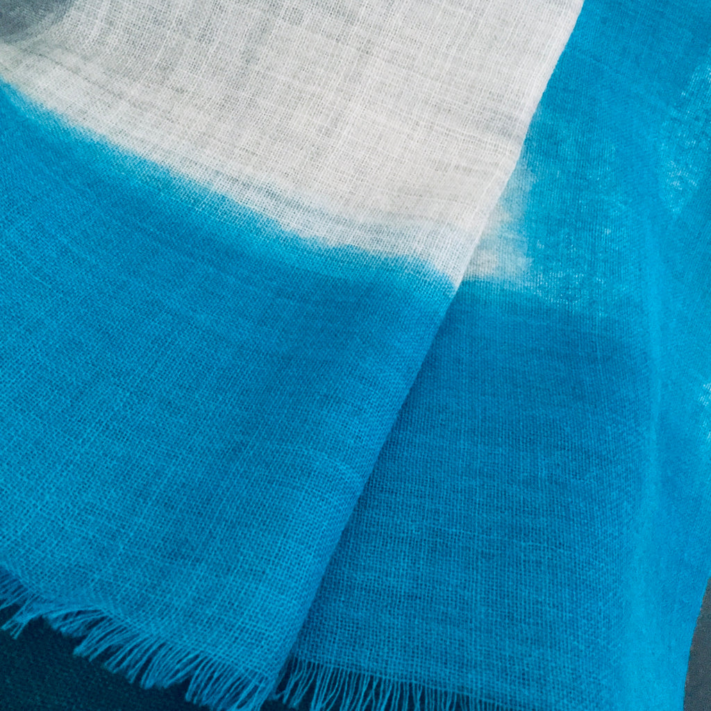 Sky Blue Wool & Silk Scarf