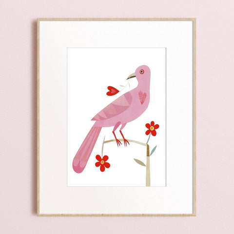 Zebuu Love Bird Art Print