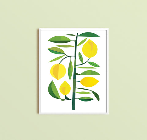 Zebuu Yellow Lemons Art Print