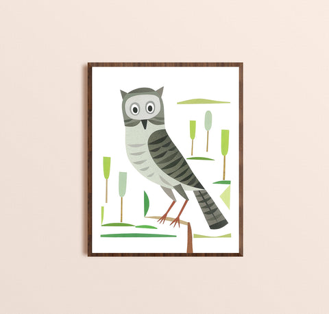 Zebuu Grey Owl Art Print