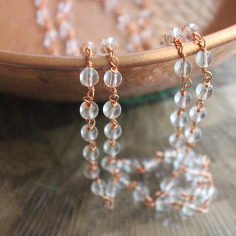 Copper Strand with Clear Beads