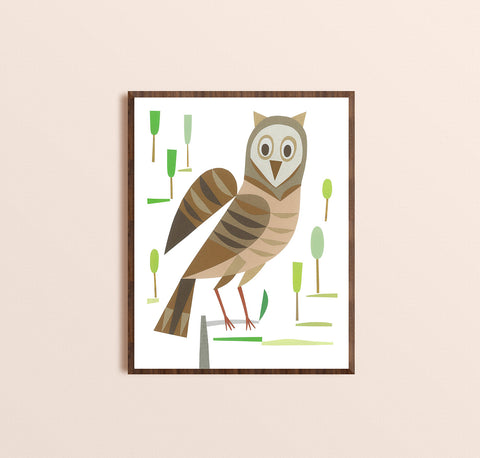 Zebuu Brown Owl Art Print
