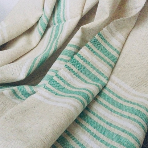 Zebuu Linen Turkish Towel Green Stripes