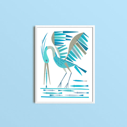 Zebuu Blue Heron Art Prints