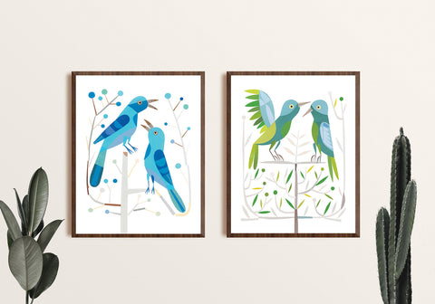 Zebuu Green Birds Art Print