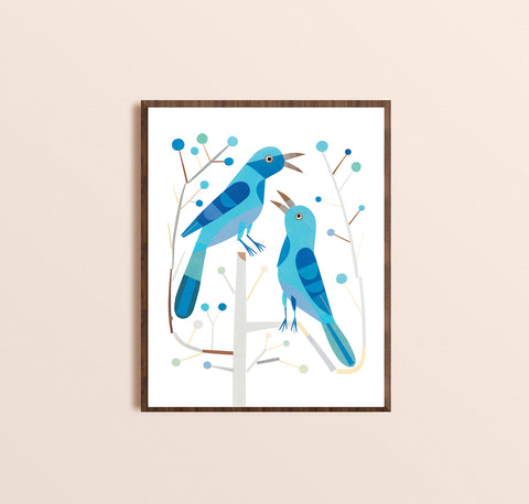 Zebuu Blue Birds Art Print