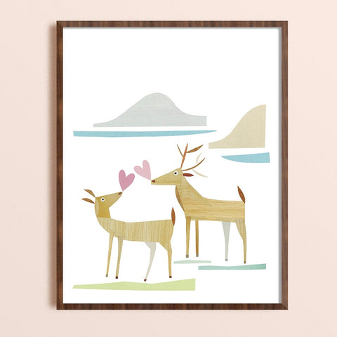 Zebuu Two Deer Art Print