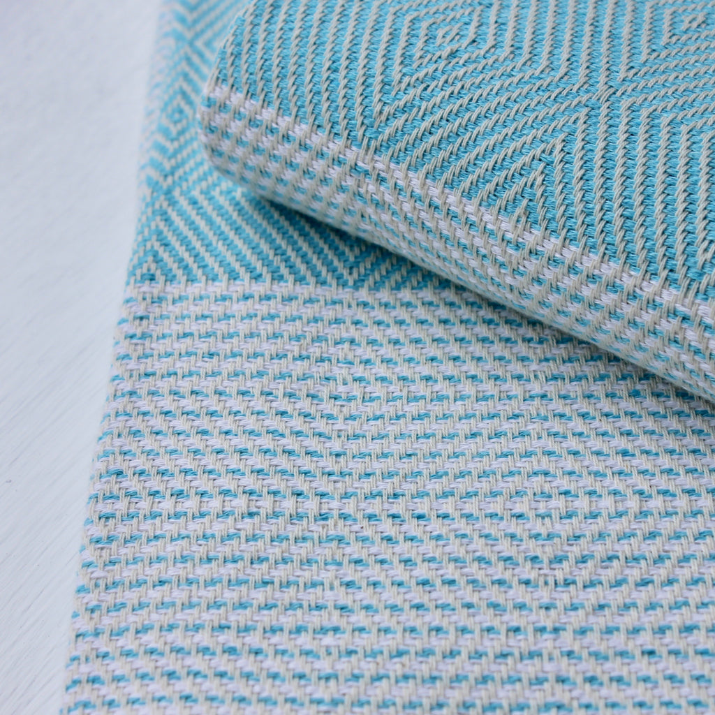 Zebuu Turkish Towel Turquoise Diamond