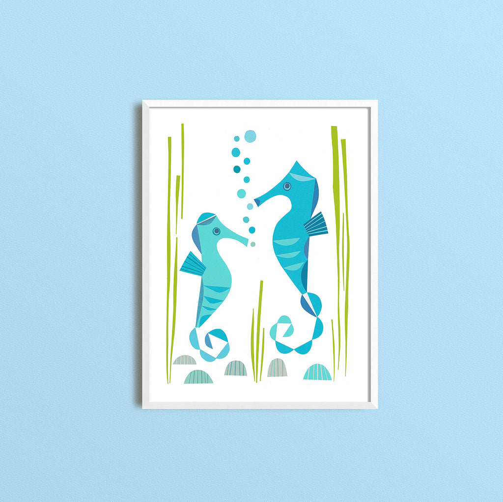 Zebuu Sea Horses Art Print