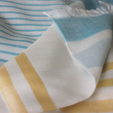 Yellow Stripes Cotton Scarf