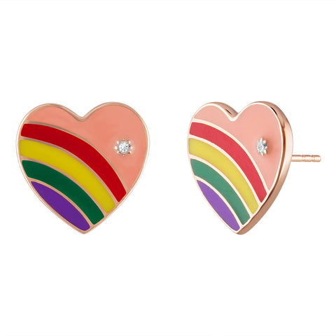 Lisa Statt X My Story Enamel Heart Earrings