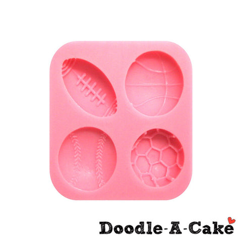 4 Sports Balls Silicone Mould