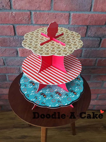 Anchors, Stars & Stripes - Double Sided & Reusable 3 Tier Cupcake Stand
